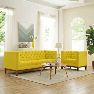 Panache Yellow Fabric Living Room Furniture Set (Set of 2)