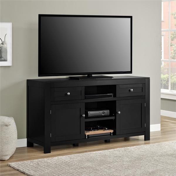 Ameriwood Home Hadley Black TV Stand for TVs up to 60 inches. Opens flyout.