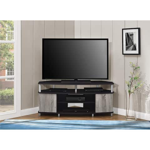 Ameriwood Home Carson Espresso/Weathered Oak Corner TV Stand for TVs up to 50 Inches