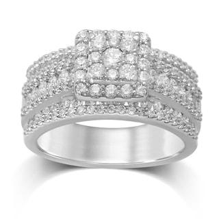 Unending Love 14k White Gold 1 3/4ct TDW Diamond Square Top Cluster Ring (H-I, I1-I2)