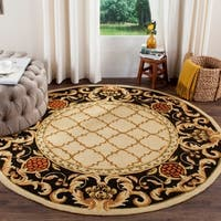 Safavieh Hand-hooked Easy to Care Ivory / Black Rug - 8' Round