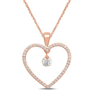 Unending Love 10k Rose Gold 1/4ct TDW Heart Pendant Necklace (I-J, I2-I3)