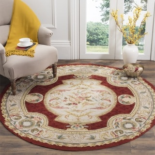 Safavieh Hand-hooked Easy to Care Ivory / Red Rug (8' Round)
