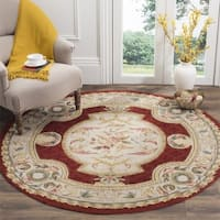 Safavieh Hand-hooked Easy to Care Ivory / Red Rug - 8' Round