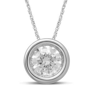 Unending Love 10k White Gold 1/3ct TDW Bezel Diamond Pendant Necklace (I-J, I2-I3)