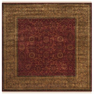 Safavieh Couture Hand-knotted Ganges River Shantell Traditional Oriental Wool Rug with Fringe (6 x 6 Square - Rust/Green)