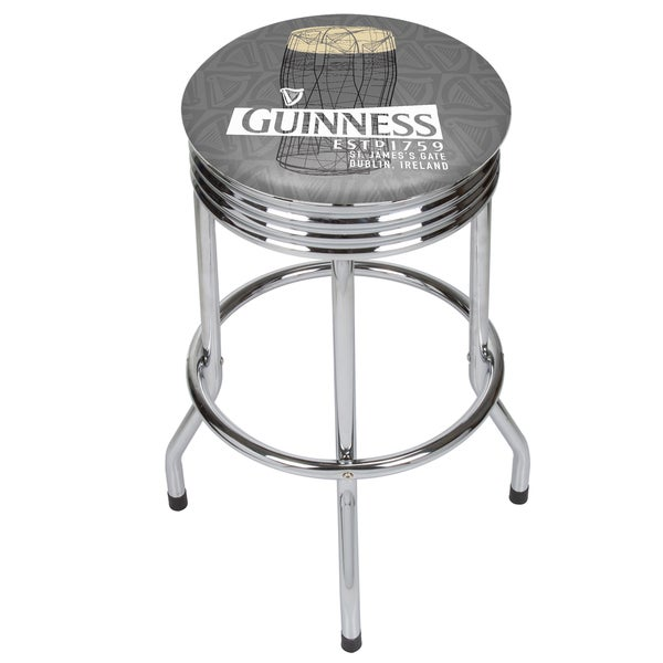 Guinness Chrome Ribbed Bar Stool