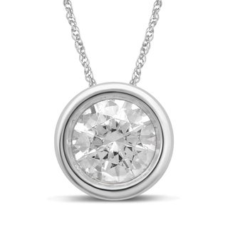 Unending Love 10k White Gold 1/4ct TDW Solitaire Bezel Diamond Pendant Necklace (I-J, I1-I2)