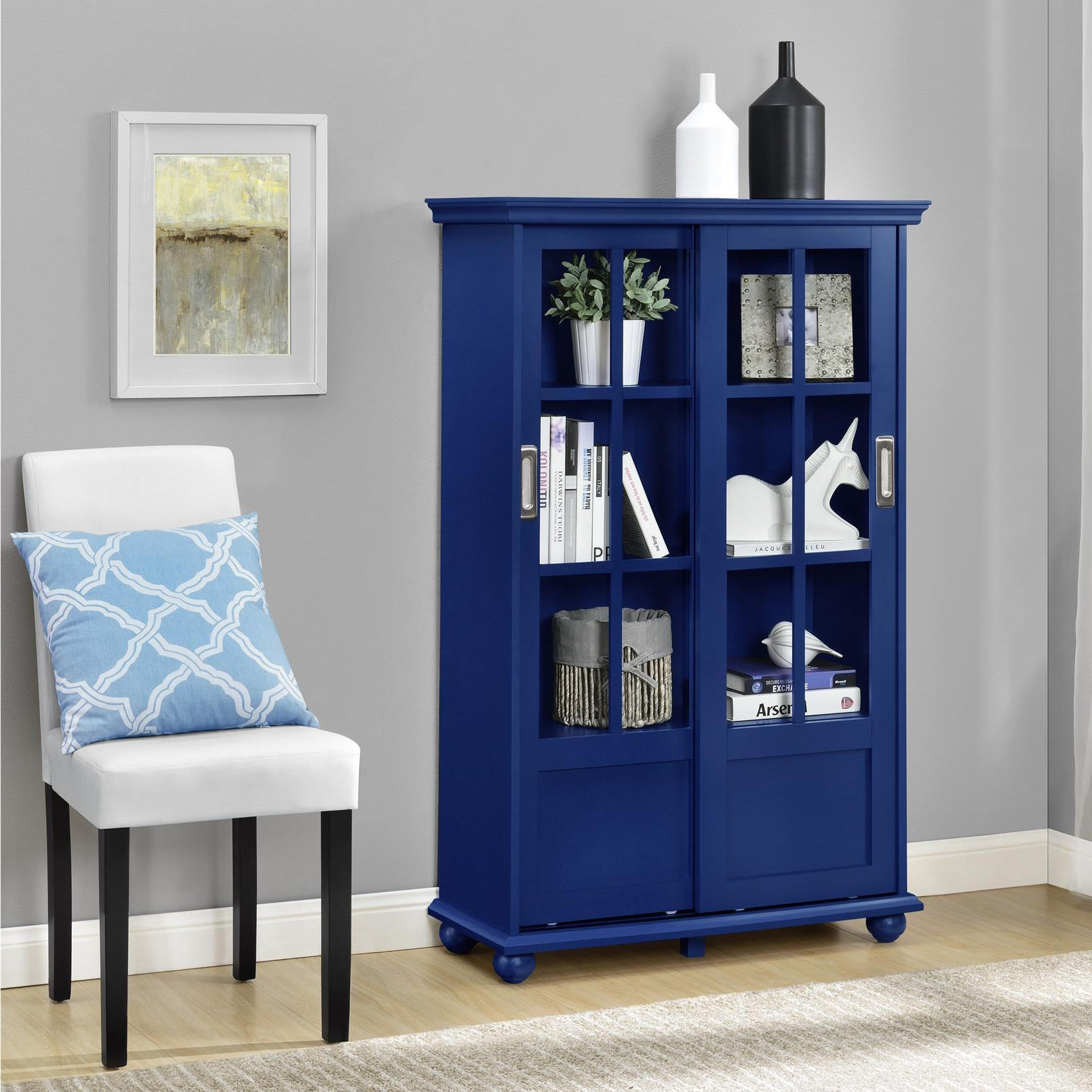 Ameriwood Home Aaron Lane Blue Bookcase With Sliding Glass Doors