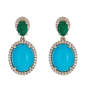 Anika and August 14K Yellow Gold Emerald, Turquoise and Diamond Earrings