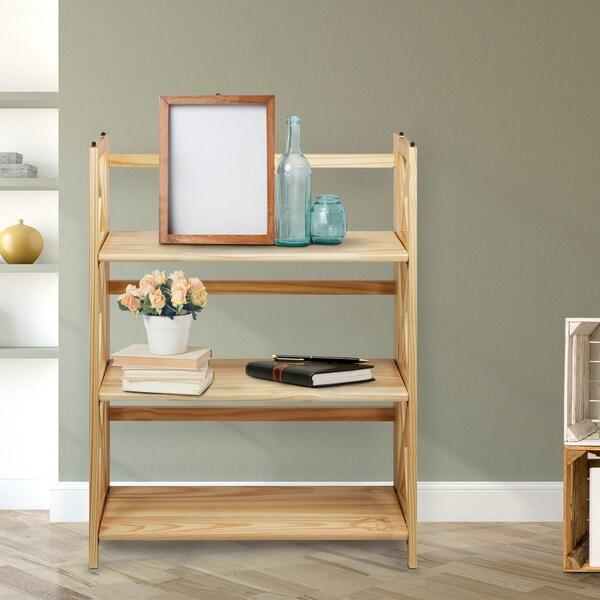 Montego Black/Natural Wood 3-shelf Folding/Stackable