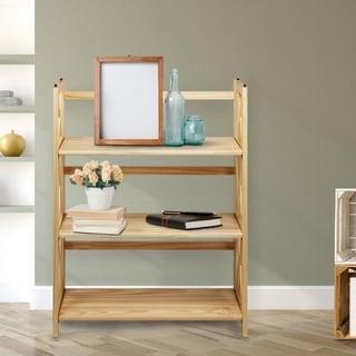Montego Black/Natural Wood 3-shelf Folding/Stackable Bookcase