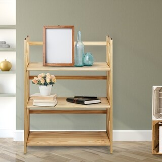 Montego Black/Natural Wood 3-shelf Folding/Stackable Bookcase