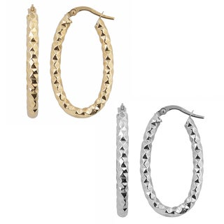 Fremada Italian 14k Gold Diamond-cut Finished Oval Hoop Earrings (yellow gold or white gold)
