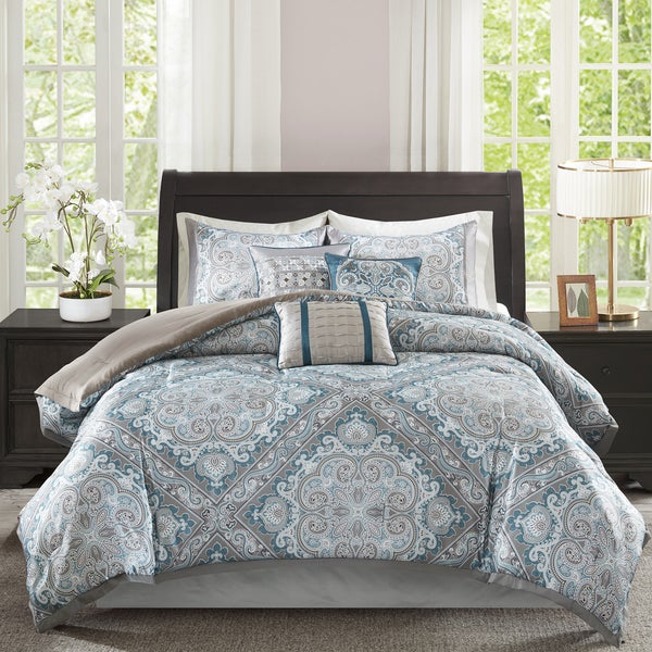 Madison Park Florence Blue 7 Piece Comforter Set