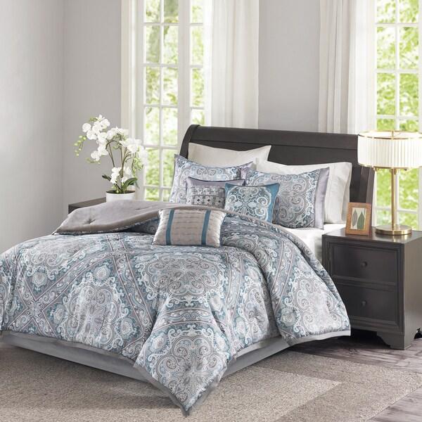 Madison Park Florence Blue 7 Piece Comforter Set - Free Shipping ...