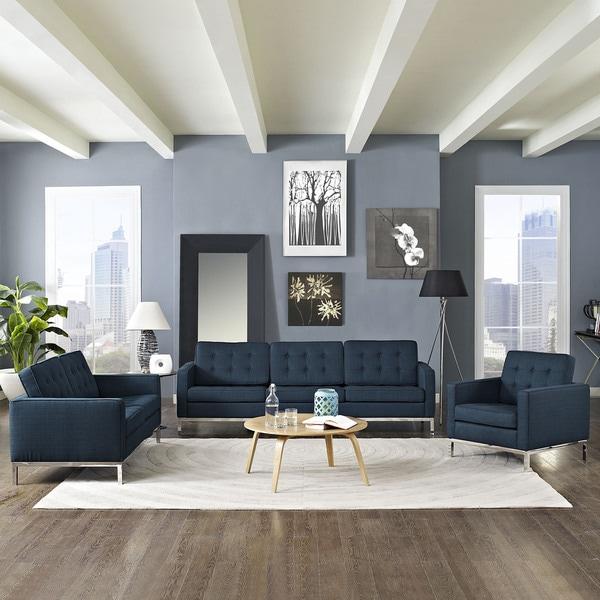 Overstock Living Room Sets: Loft Modern Fabric Living Room Sofa Set