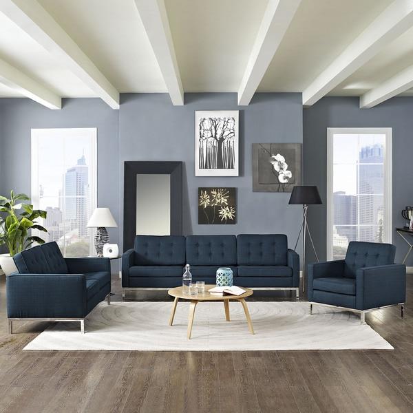 Shop Loft Modern Fabric Living Room Sofa Set