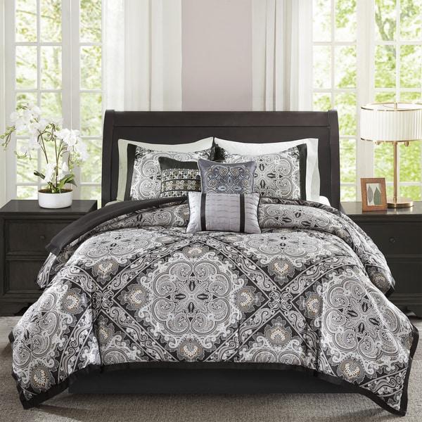 Madison Park Florence Black 7 Piece Comforter Set