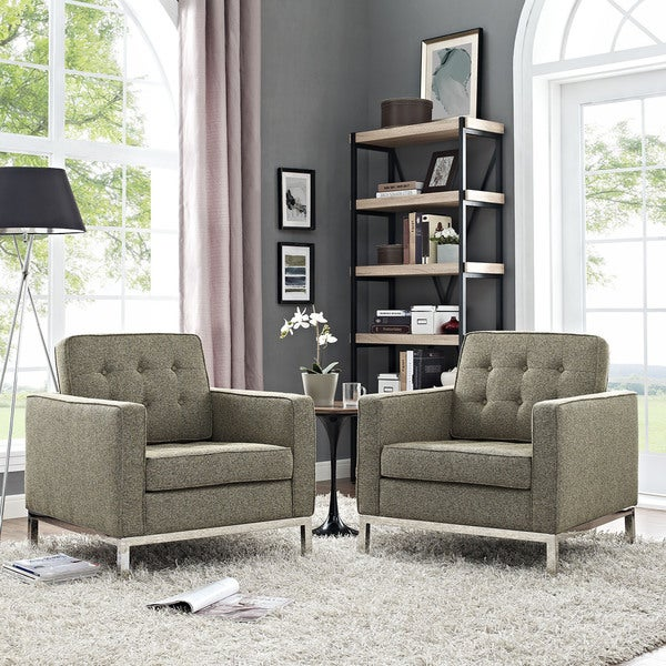 Shop Modway Loft Grey And Off White Fabric Armchairs Set