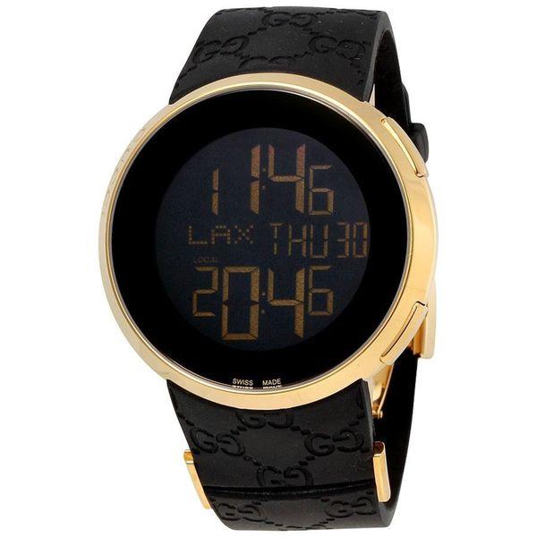 5552dbbb837 Shop Gucci Men s YA114229  I-Gucci  Digital Black Rubber Watch ...