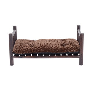 Pawhut 41-inch Rustic Wooden Furniture Style Pet Bed