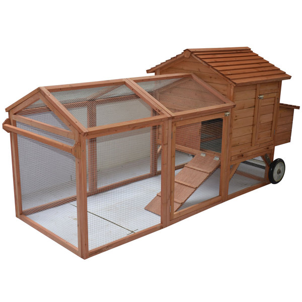 """PawHut 98"""" Portable Wooden Chicken Coop With Wheels Outdoor Run and Nesting Box. Opens flyout."""