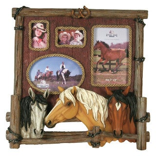 River's Edge Products 4-photo Brown Wood Horse Picture Frame