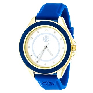 Fortune NYC Gold Alloy Case w/ Stainless Steel Back and Imprinted Dial and Blue Silicon Strap Watch