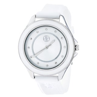Fortune NYC Silver Alloy Case w/ Stainless Steel Back and Imprinted Dial and White Silicon Strap Watch