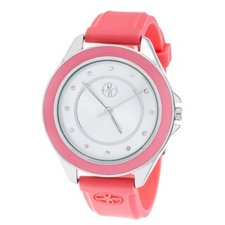 Fortune NYC Silver Alloy Case w/ Stainless Steel Back and Imprinted Dial and PInk Silicon Strap Watch