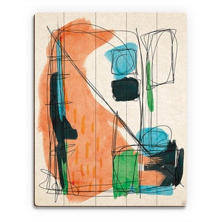 'Retro Scribble - Orange' Wood Wall Art