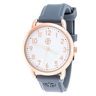 Fortune NYC Rose Gold Alloy Case w/ Stainless Steel Back and Grey Imprinted Silicon Strap Watch