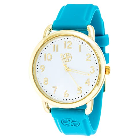 Fortune NYC Gold Alloy Case w/ Stainless Steel Back and Blue Imprinted Silicon Strap Watch