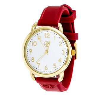 Fortune NYC Gold Alloy Case w/ Stainless Steel Back and Red Imprinted Silicon Strap Watch