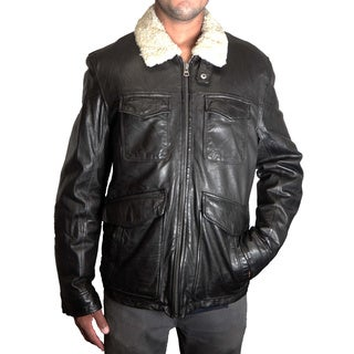 Levi's Men's Black Leather Jacket with Faux Shearling