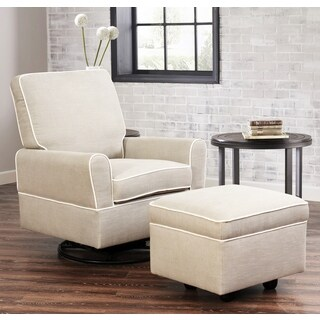 Abbyson Chase Swivel Glider Chair and Ottoman