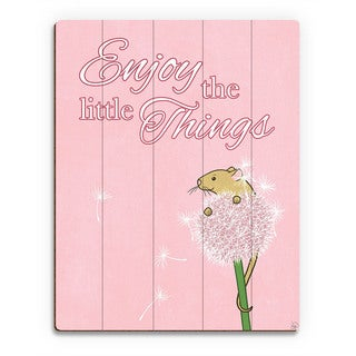 'Little Things Mouse' Pink Wood Wall Art