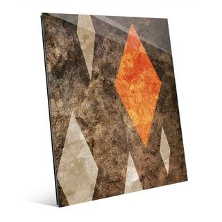 'Diamond in the Rough' Orange Wall Art on Glass