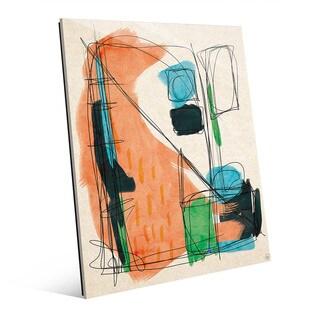 'Retro Scribble' Orange Wall Art on Glass