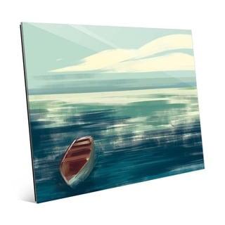 'Calm Cerulean Boat' Glass Wall Art