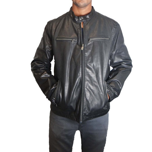 8172dbabd Shop Dockers Men's Moto Black Leather Jacket - Free Shipping Today ...