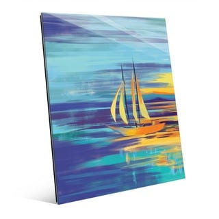 Glistening Autumn Sails' Multicolor Abstract Glass Wall Art