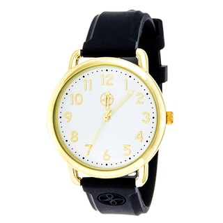 Fortune NYC Gold Alloy Case w/ Stainless Steel Back and Black Imprinted Silicon Strap Watch