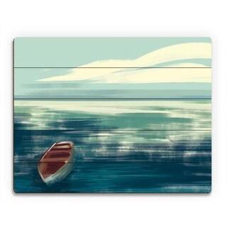 Calm Cerulean Boat Wall Art on Wood