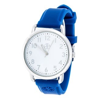 Fortune NYC Silver Alloy Case w/ Stainless Steel Back and Blue Imprinted Silicon Strap Watch