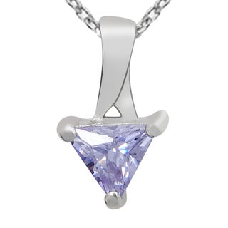 Orchid Jewelry 925 Sterling Silver 8/9-Carat Trillion Cut Lavender Cz Necklace