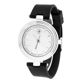 Fortune NYC Silver Alloy Case w/ Stainless Steel Back and Black Silicon Strap Watch