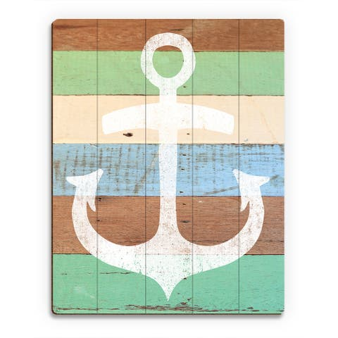 White Anchor Wall Art on Wood