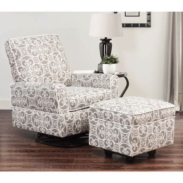 Delightful Abbyson Chase Grey Floral Wood/Fabric Swivel Glider Chair And Ottoman